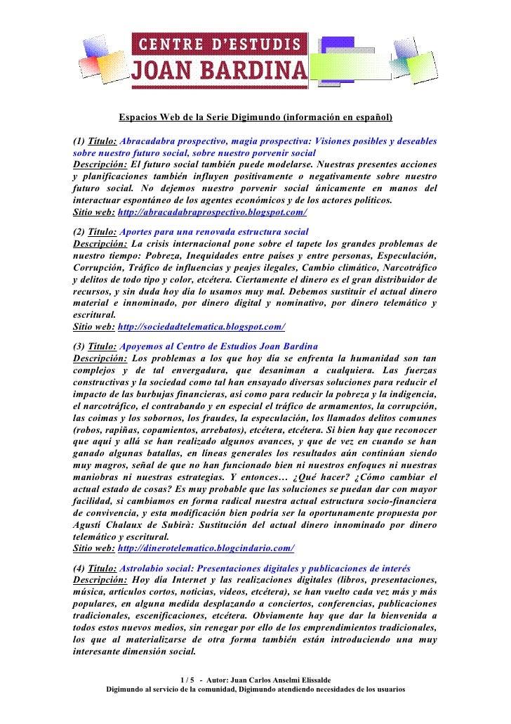 Espacios Serie Digimundo en español - Enlaces a blogs de la serie Digimundo