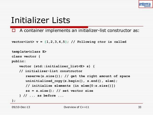 Std vector initializer list