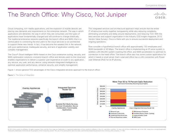 Competitive AnalysisThe Branch Office: Why Cisco, Not JuniperCloud computing, rich-media applications, and the explosion o...