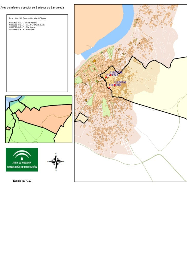 Área de influencia escolar de Sanlúcar de Barrameda      Zona 11032_103 Segundo Cic. Infantil/Primaria      11005433 - C.D...