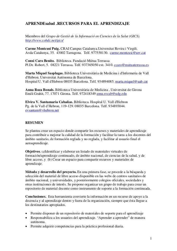 APRENDEsalud .RECURSOS PARA EL APRENDIZAJEMiembros del Grupo de Gestió de la Informació en Ciencies de la Salut (GICS).htt...