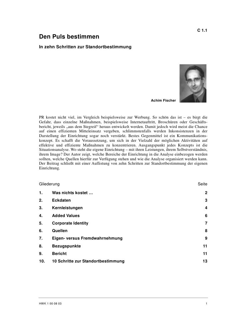 Achim Fischer: Den Puls bestimmen - In zehn Schritten zur Standortbestimmung