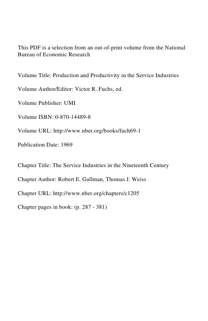 The Service Industries  in the Nineteenth Century