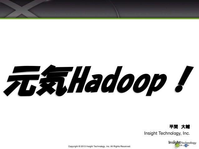 元気Hadoop! 平間 大輔 Insight Technology, Inc. Copyright © 2013 Insight Technology, Inc. All Rights Reserved.