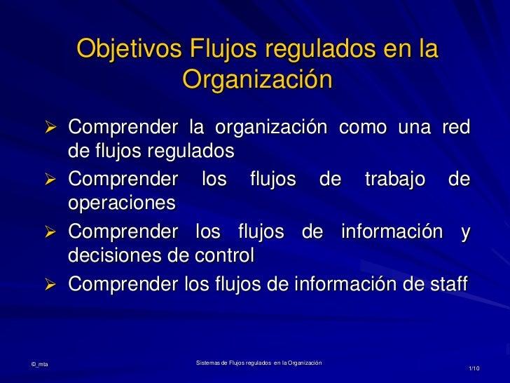 Objetivos Flujos regulados en la                 Organización    Comprender la organización como una red     de flujos re...