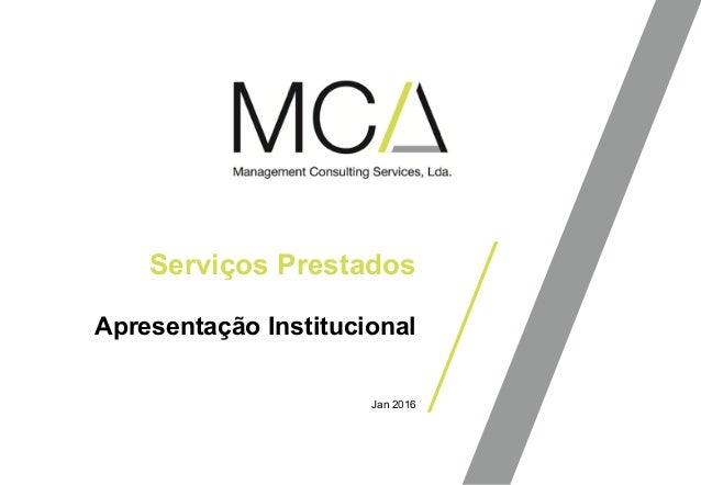 Apresentação Institucional Serviços Prestados Jan 2016