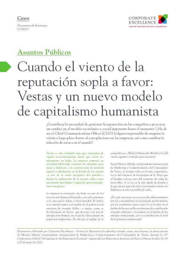 Cuando el viento de la reputación sopla a favor: Vestas y un nuevo modelo de capitalismo humanista.