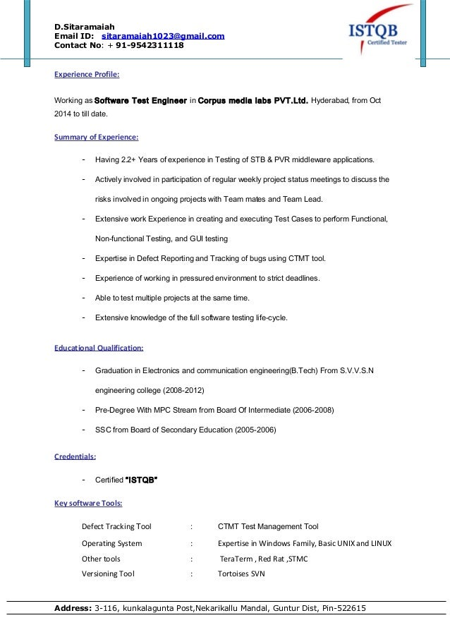 test engineer resume sample experience profile working software test sample license agreement engineer cover - Electronic Test Engineer Sample Resume