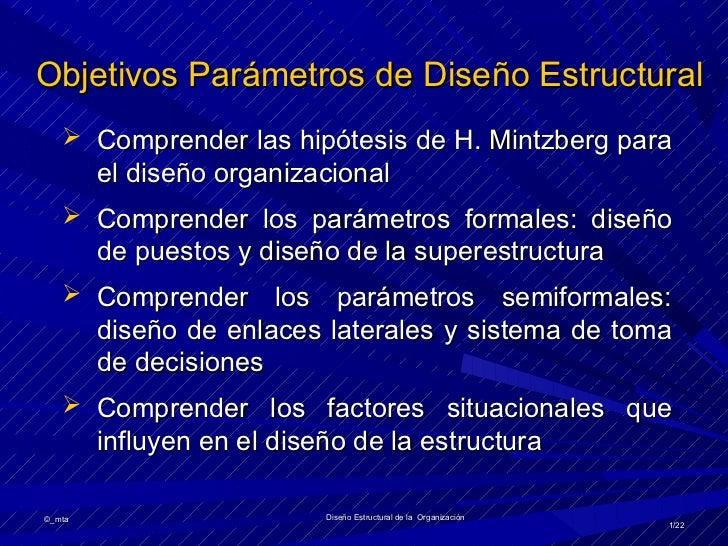 Objetivos Parámetros de Diseño Estructural    Comprender las hipótesis de H. Mintzberg para        el diseño organizacion...