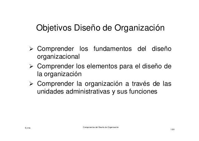 Objetivos Diseño de Organización  Comprender los fundamentos del diseño  organizacional  Comprender los elementos para e...