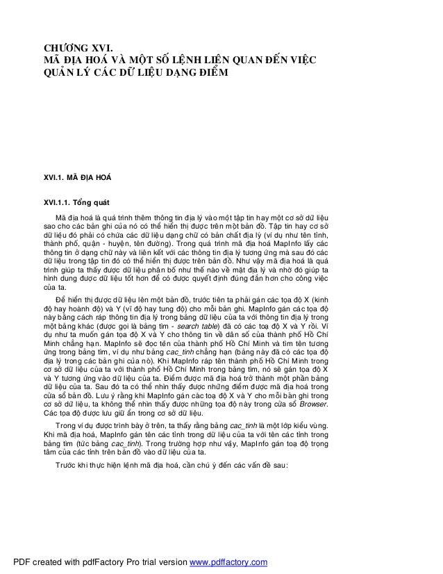 CHÖÔNG XVI.MAÕ ÑÒA HOAÙ VAØ MOÄT SOÁ LEÄNH LIEÂN QUAN ÑEÁN VIEÄCQUAÛN LYÙ CAÙC DÖÕ LIEÄU DAÏNG ÑIEÅMXVI.1. MAÕ ÑÒA HOAÙXVI...