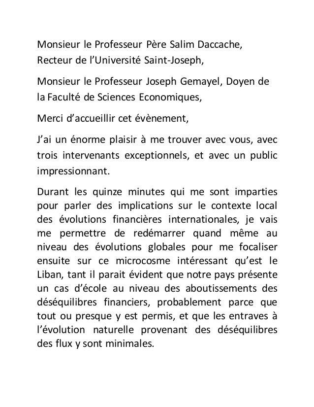 Monsieur le Professeur Père Salim Daccache, Recteur de l'Université Saint-Joseph, Monsieur le Professeur Joseph Gemayel, D...