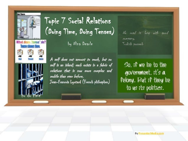 by Nina Dearle By PresenterMedia.com Topic 7 Social Relations (Doing Time, Doing Tenses) A self does not amount to much, b...