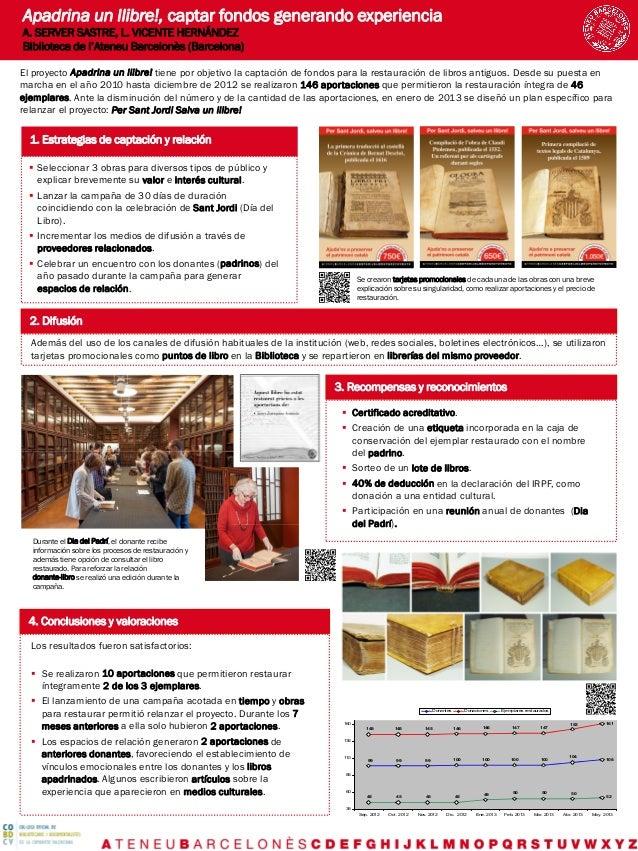 Apadrina un llibre!, captar fondos generando experiencia A. SERVER SASTRE, L. VICENTE HERNÁNDEZ Biblioteca de l'Ateneu Bar...