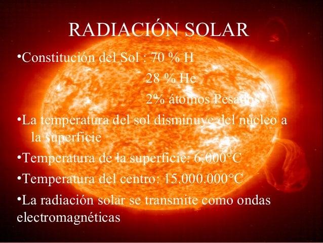 RADIACIÓN SOLAR •Constitución del Sol : 70 % H 28 % He 2% átomos Pesados •La temperatura del sol disminuye del núcleo a la...