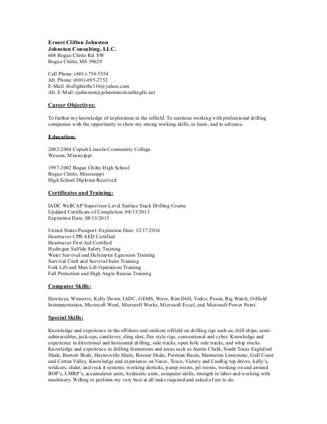 ernest clifton johnston resume updated