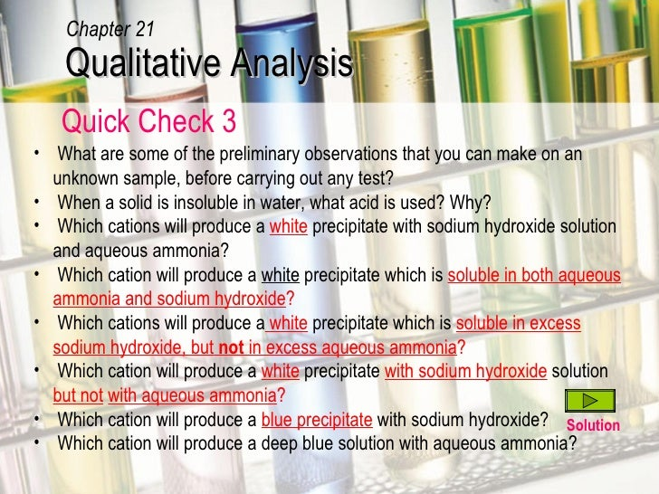 qualitative tests performed on unknown water
