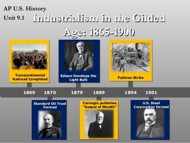 AP U.S. History Unit 9.1  Industrialism in the Gilded Age: 1865-1900  Transcontinental Railroad Completed  1869  Edison De...