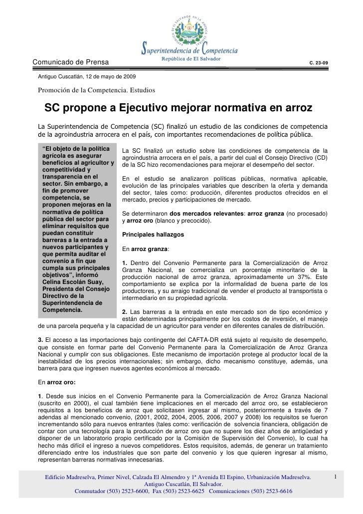 Comunicado de Prensa                                                                                     C. 23-09   Antigu...
