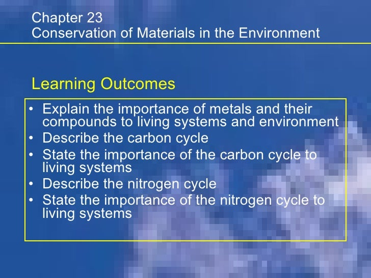 <ul><li>Explain the importance of metals and their compounds to living systems and environment </li></ul><ul><li>Describe ...