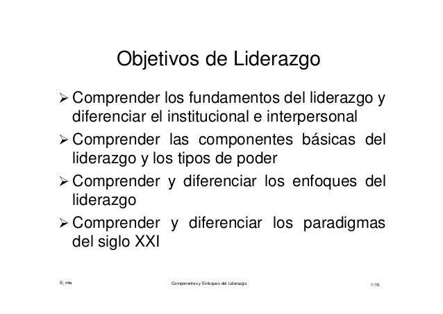 ©_mta1/15Objetivos de Liderazgo Comprender los fundamentos del liderazgo ydiferenciar el institucional e interpersonal C...