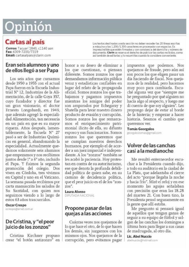 """Carta de lectores Clarín: De Cristina y el """"peor juicio de los zonzos"""""""