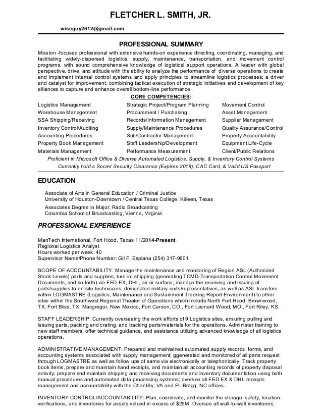 Fletcher L Smith Professional Logistics Resume 2 25 2015
