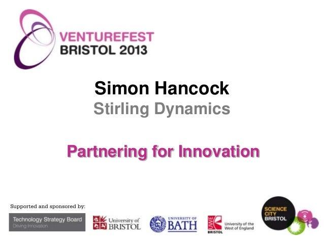Simon Hancock Stirling Dynamics Partnering for Innovation