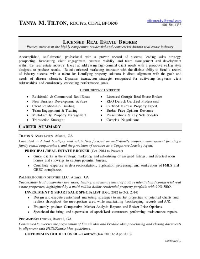 commercial real estate agent resume