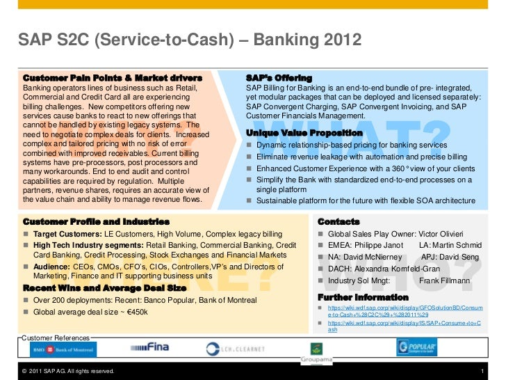SAP S2C (Service-to-Cash) – Banking 2012Customer Pain Points & Market drivers                       SAP's OfferingBanking ...