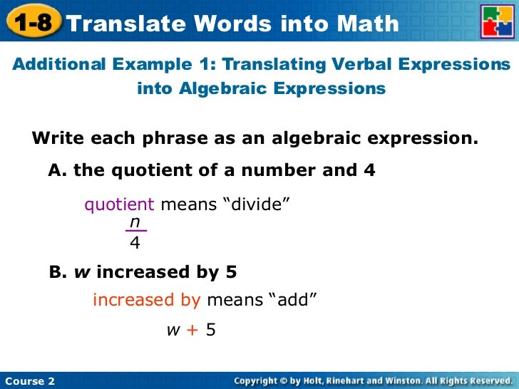 Translating Verbal Expressions Into Algebraic Expressions Games