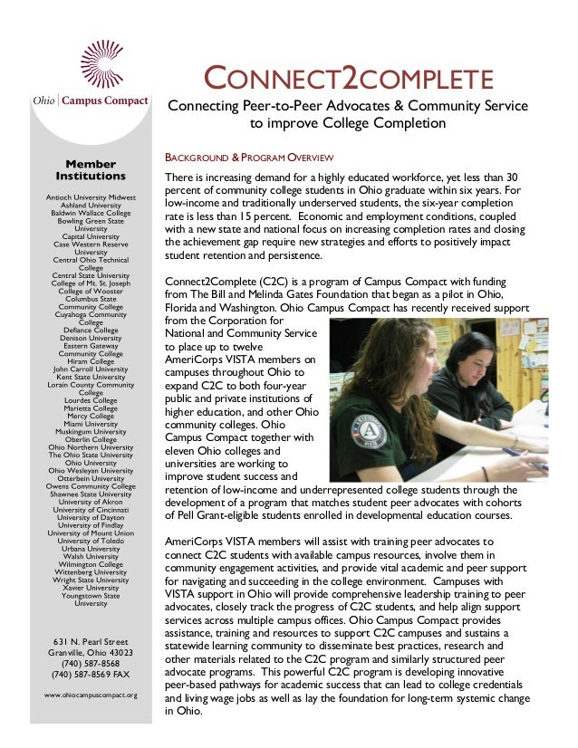 CONNECT2COMPLETE Connecting Peer-to-Peer Advocates & Community Service to improve College Completion BACKGROUND & PROGRAM ...