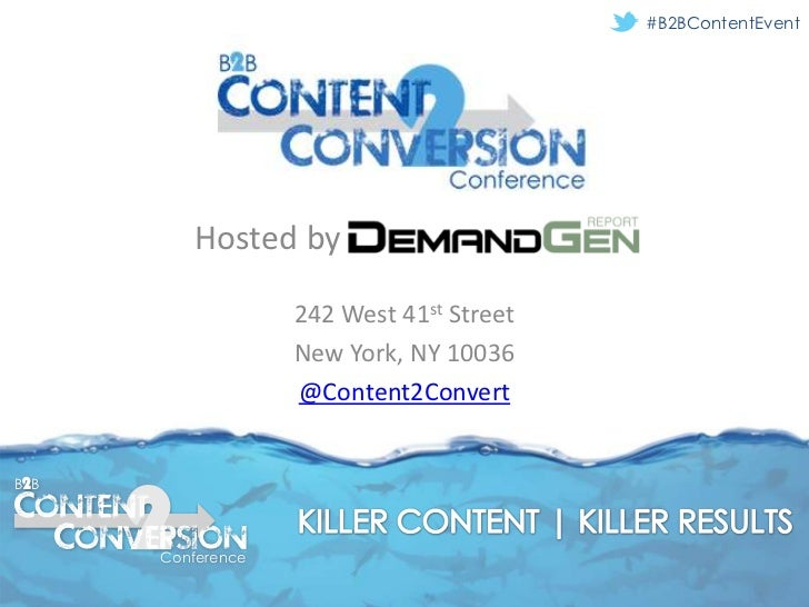 #B2BContentEvent         Hosted by                   242 West 41st Street                   New York, NY 10036            ...