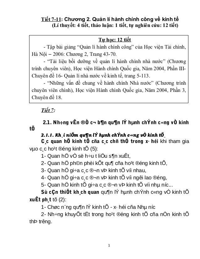 Tiết 7-11: Chương 2. Quản lí hành chính công về kinh tế          (Lí thuyết: 4 tiết, thảo luận: 1 tiết, tự nghiên cứu: 12 ...