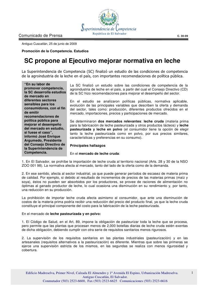 SC propone al Ejecutivo mejorar normativa en leche