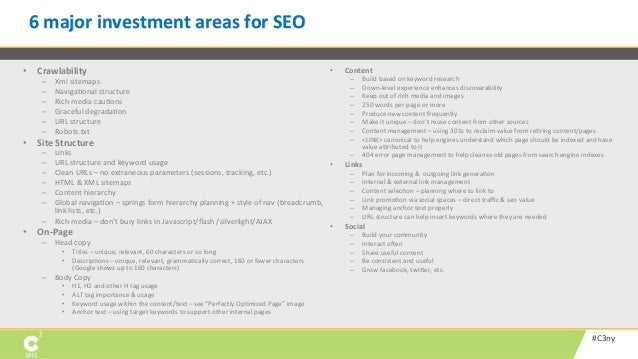 6 major investment areas for SEO