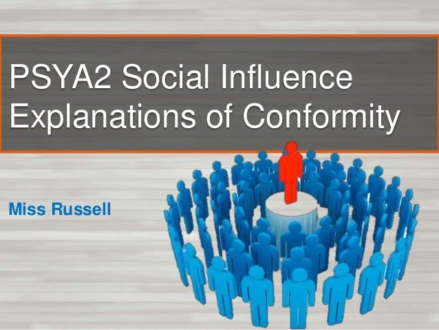 PSYA2 Social Influence Explanations of Conformity Miss Russell