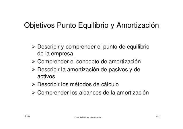 ©_mtaPunto de Equilibrio y Amortización 1 / 17Objetivos Punto Equilibrio y Amortización Describir y comprender el punto d...