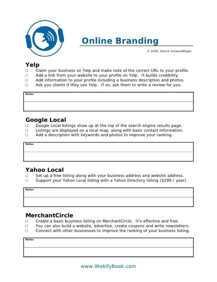 Online Branding                                                                  © 2009, Patrick Schwerdtfeger     Yelp □ ...