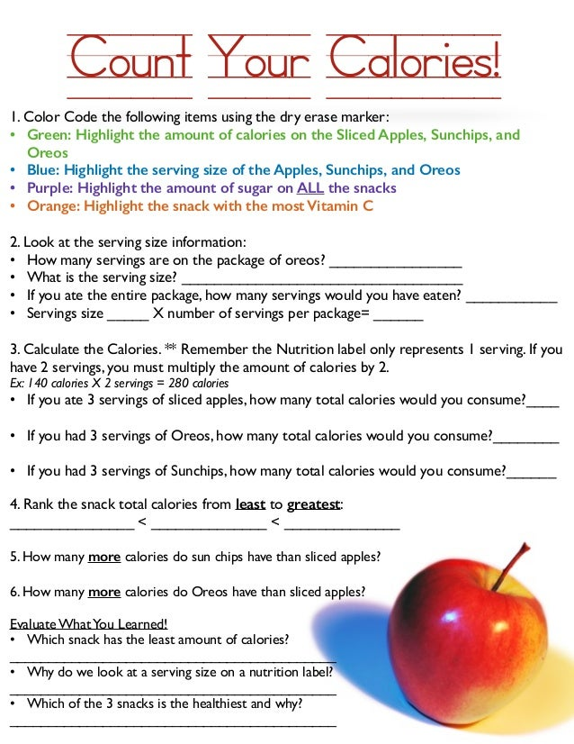 Count Your Calories Worksheet