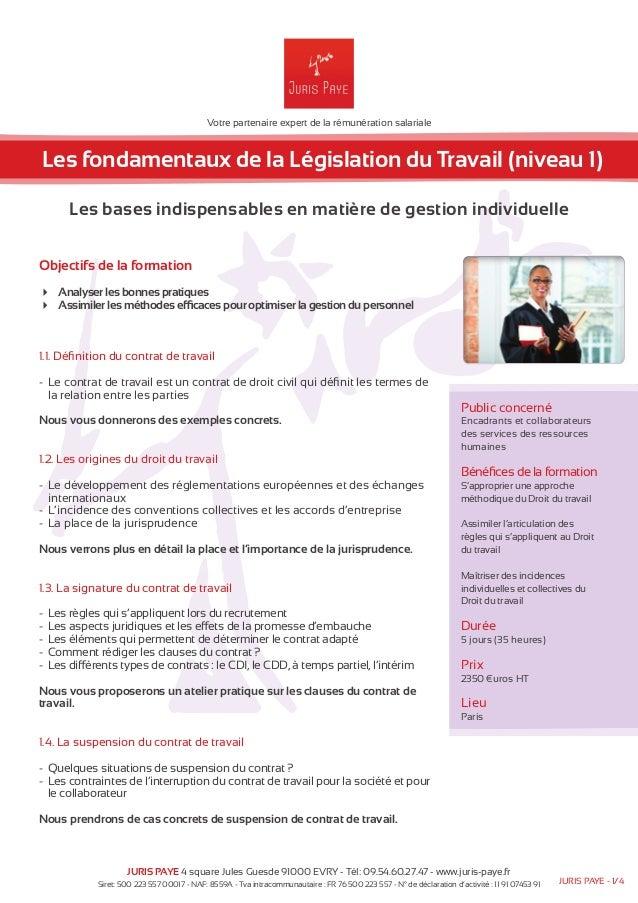 Votre partenaire expert de la rémunération salariale  Les fondamentaux de la Législation du Travail (niveau 1)  Les bases ...