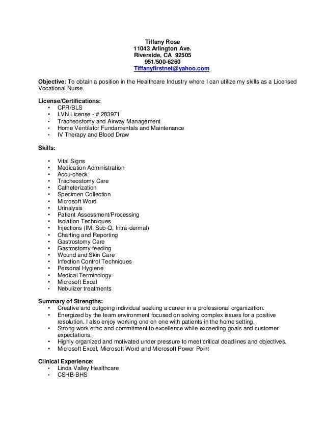 lvn resume template