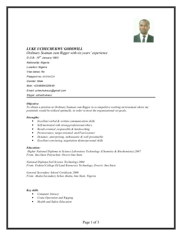 ordinary seaman resume examples - Leon.escapers.co