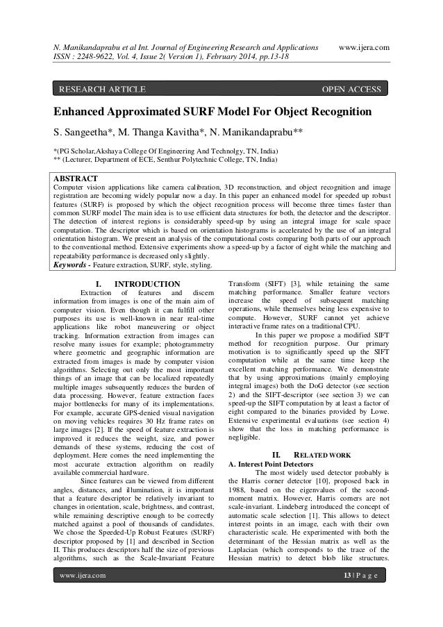 N. Manikandaprabu et al Int. Journal of Engineering Research and Applications ISSN : 2248-9622, Vol. 4, Issue 2( Version 1...