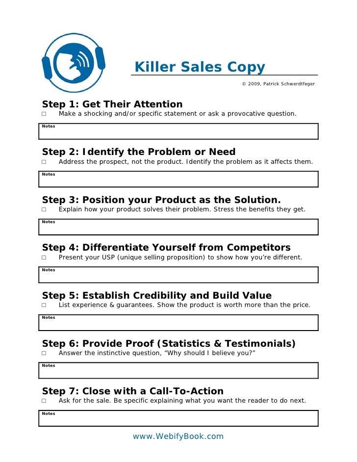 C42 killer sales copy worksheet