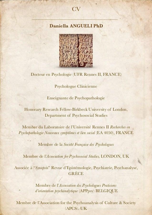 Docteur en Psychologie (UFR Rennes II, FRANCE) Psychologue Clinicienne Enseignante de Psychopathologie Honorary Research F...