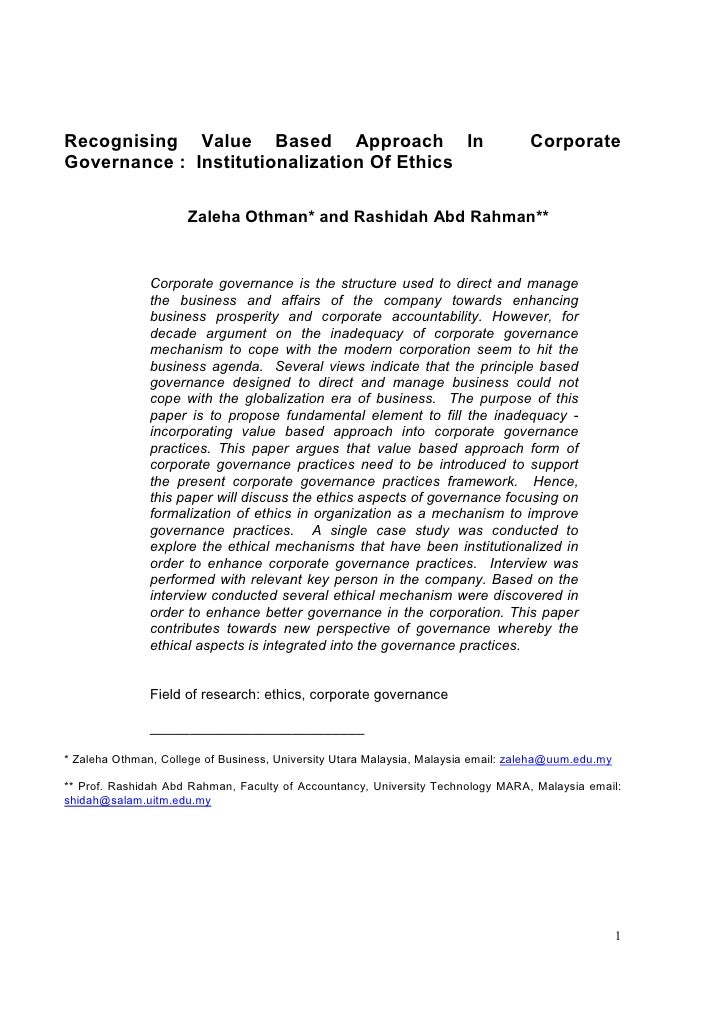 Recognising Value Based Approach In                                                Corporate Governance : Institutionaliza...