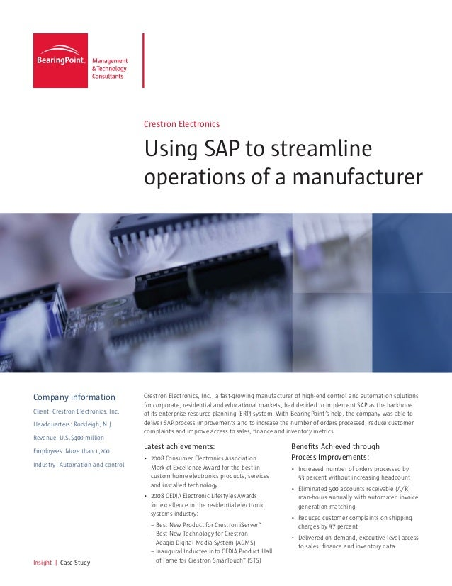 Case Study: Using SAP to Streamline Operations of a Manufacturer