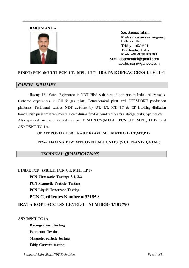 ndt inspector resume cv for pcn ndt inspector ut3 1 3 2 3 9 mt