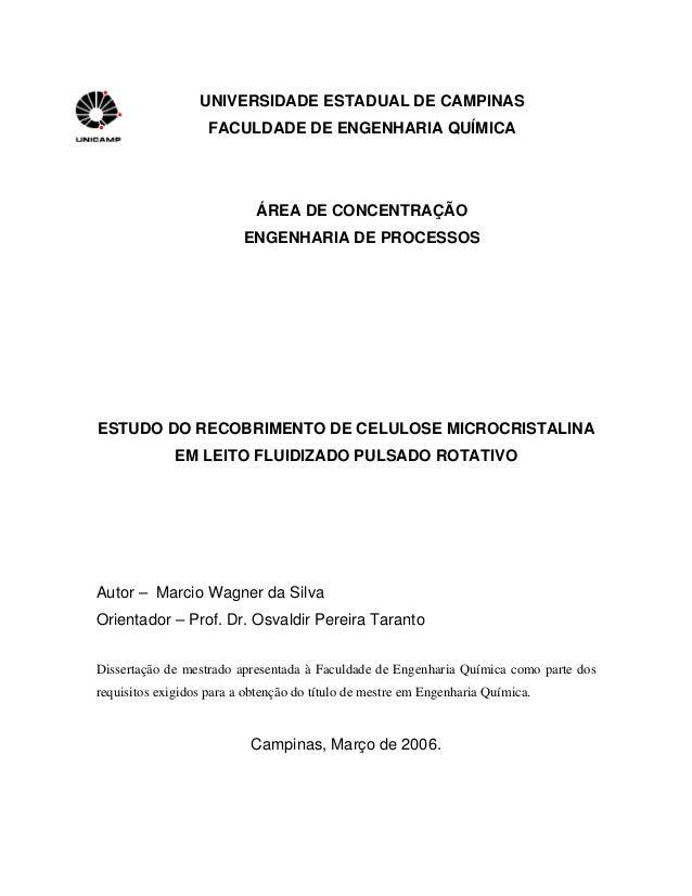 UNIVERSIDADE ESTADUAL DE CAMPINAS FACULDADE DE ENGENHARIA QUÍMICA ÁREA DE CONCENTRAÇÃO ENGENHARIA DE PROCESSOS ESTUDO DO R...